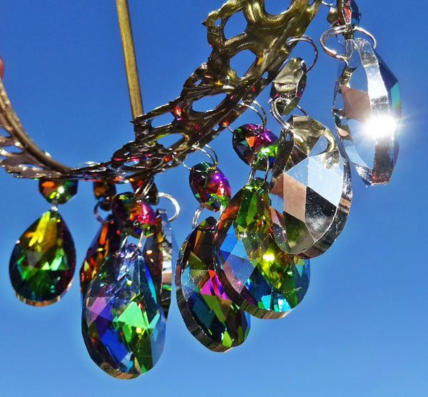 "Vitrail AB Iridescent Silver Back Cut Glass Oval 37 mm 1.5"" Chandelier Crystals Drops Beads Droplets 5"
