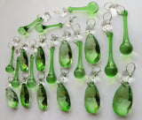 20 Emerald Green Chandelier Drops Crystals Beads Prisms Mix Droplets Light Parts Bundle 6