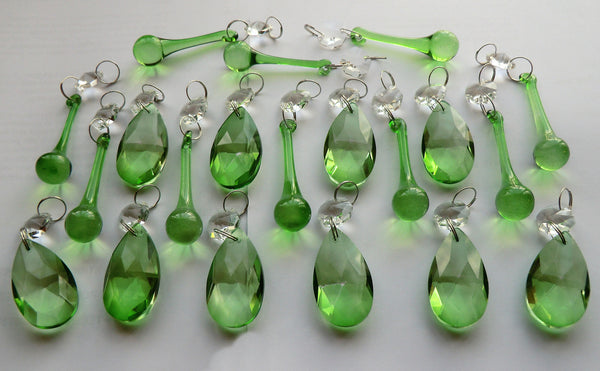 20 Emerald Green Chandelier Drops Crystals Beads Prisms Mix Droplets Light Parts Bundle 3