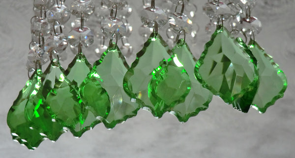 "12 Emerald Green Leaf 50 mm 2"" Chandelier Crystals Drops Beads Droplets Christmas Wedding Decorations 12"