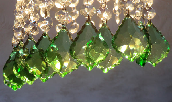 "12 Emerald Green Leaf 50 mm 2"" Chandelier Crystals Drops Beads Droplets Christmas Wedding Decorations 4"