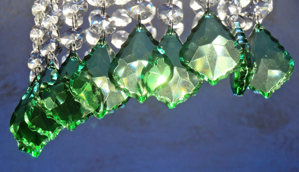 "12 Emerald Green Leaf 50 mm 2"" Chandelier Crystals Drops Beads Droplets Christmas Wedding Decorations 10"