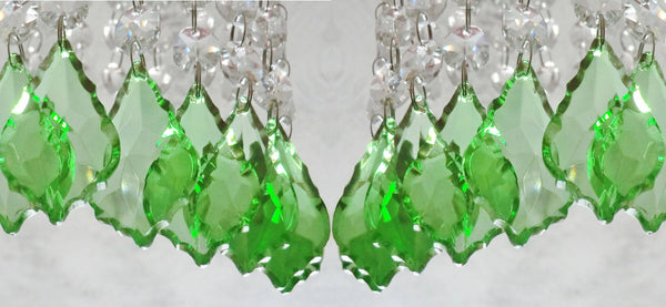 "12 Emerald Green Leaf 50 mm 2"" Chandelier Crystals Drops Beads Droplets Christmas Wedding Decorations 8"