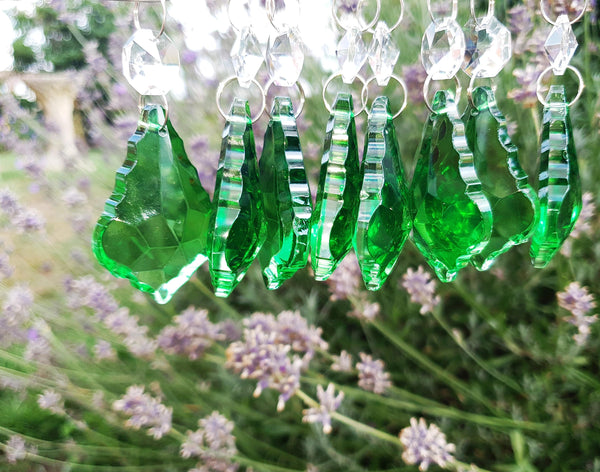 "12 Emerald Green Leaf 50 mm 2"" Chandelier Crystals Drops Beads Droplets Christmas Wedding Decorations 6"