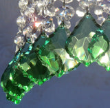 "Emerald Green Cut Glass Leaf 50 mm 2"" Chandelier Crystals Drops Beads Droplets 7"