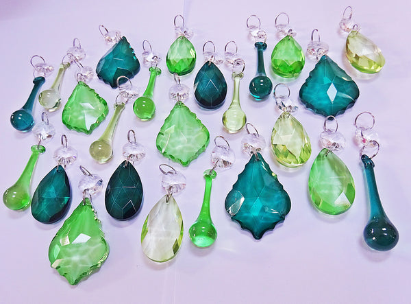 24 Sage Emerald Peacock Green Chandelier Drops Crystals Beads Cut Glass Prisms Droplets Bundle Mix 6