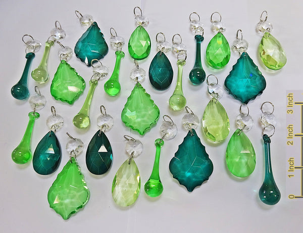 24 Sage Emerald Peacock Green Chandelier Drops Crystals Beads Cut Glass Prisms Droplets Bundle Mix 1
