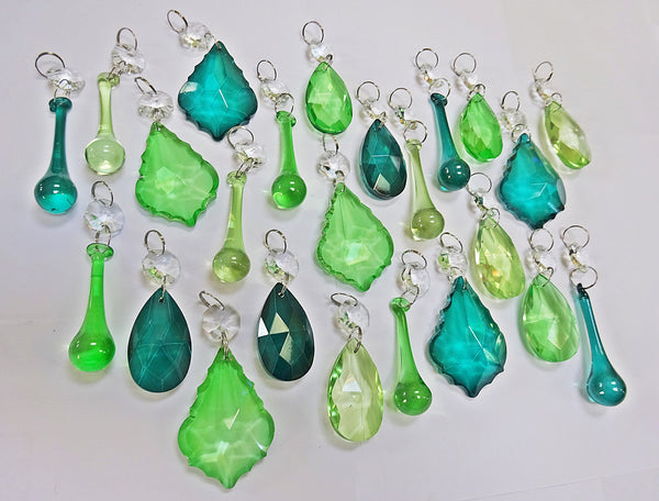 24 Sage Emerald Peacock Green Chandelier Drops Crystals Beads Cut Glass Prisms Droplets Bundle Mix 2