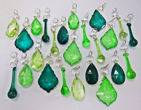 24 Sage Emerald Peacock Green Chandelier Drops Crystals Beads Cut Glass Prisms Droplets Bundle Mix 4