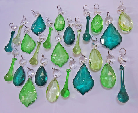 24 Sage Emerald Peacock Green Chandelier Drops Crystals Beads Cut Glass Prisms Droplets Bundle Mix 5