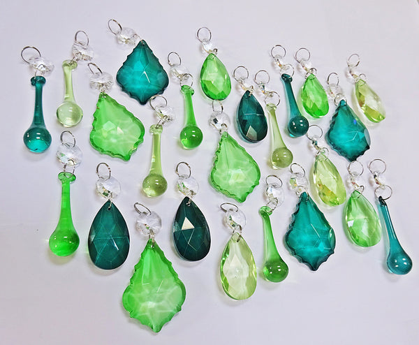 24 Sage Emerald Peacock Green Chandelier Drops Crystals Beads Prism Droplets Mix 7