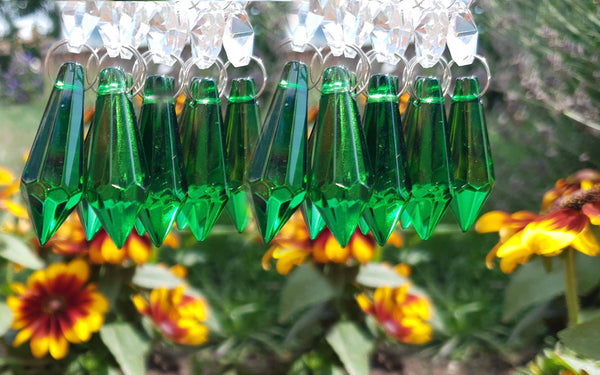 "12 Emerald Green Torpedo 37 mm 1.5"" Chandelier Crystals Drops Beads Droplets Christmas Wedding Decorations 7"