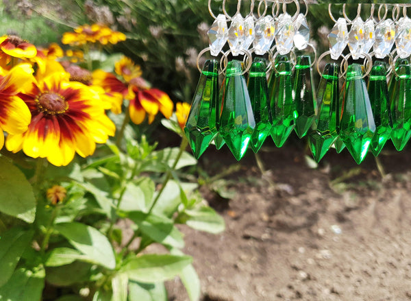 "12 Emerald Green Torpedo 37 mm 1.5"" Chandelier Crystals Drops Beads Droplets Christmas Wedding Decorations 5"