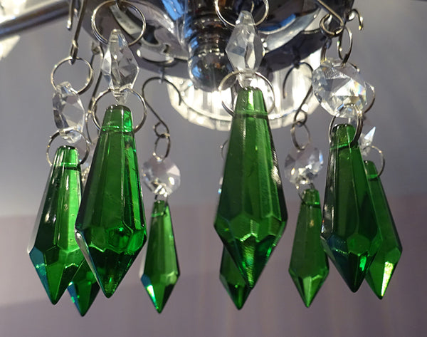 "12 Emerald Green Torpedo 37 mm 1.5"" Chandelier Crystals Drops Beads Droplets Christmas Wedding Decorations 10"