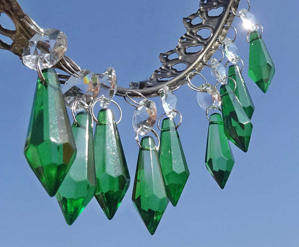 "12 Emerald Green Torpedo 37 mm 1.5"" Chandelier Crystals Drops Beads Droplets Christmas Wedding Decorations 1"