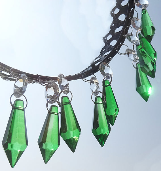 "Emerald Green Cut Glass Torpedo 37 mm 1.5"" Chandelier Crystals Drops Beads Droplets 9"