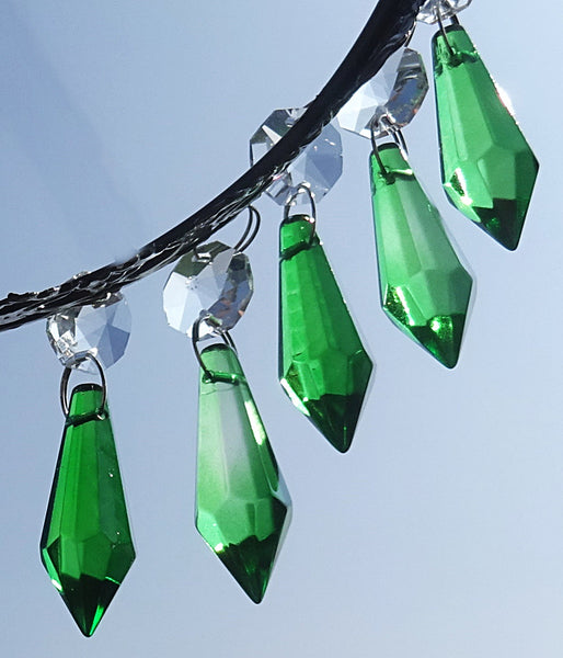 "Emerald Green Cut Glass Torpedo 37 mm 1.5"" Chandelier Crystals Drops Beads Droplets 4"