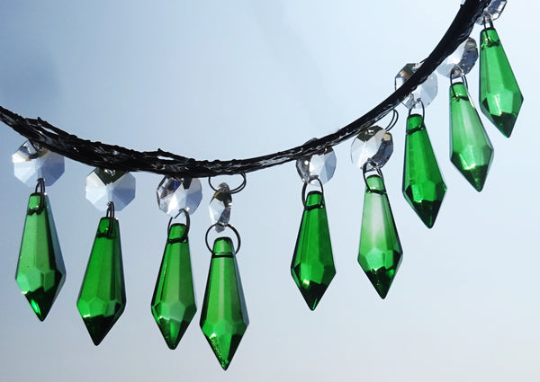 "Emerald Green Cut Glass Torpedo 37 mm 1.5"" Chandelier Crystals Drops Beads Droplets 11"