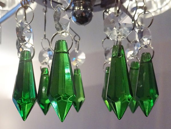 "Emerald Green Cut Glass Torpedo 37 mm 1.5"" Chandelier Crystals Drops Beads Droplets 13"