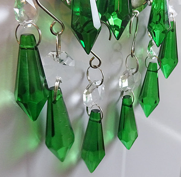 "12 Emerald Green Torpedo 37 mm 1.5"" Chandelier Crystals Drops Beads Droplets Christmas Wedding Decorations 11"