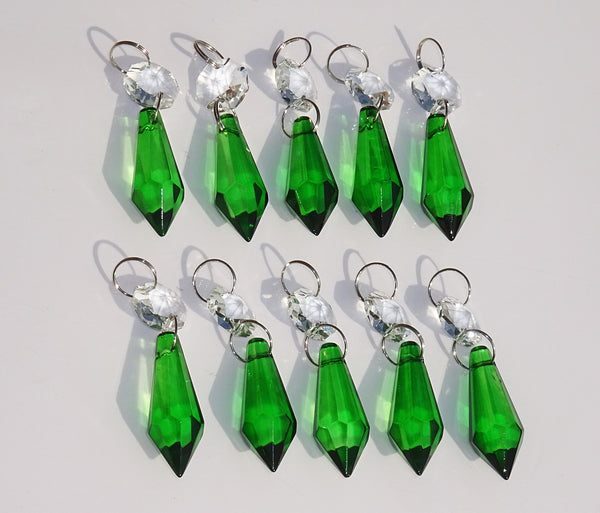 "Emerald Green Cut Glass Torpedo 37 mm 1.5"" Chandelier Crystals Drops Beads Droplets 12"