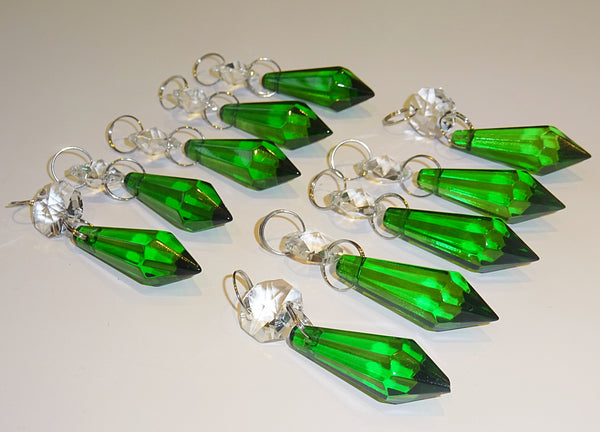 "Emerald Green Cut Glass Torpedo 37 mm 1.5"" Chandelier Crystals Drops Beads Droplets 10"