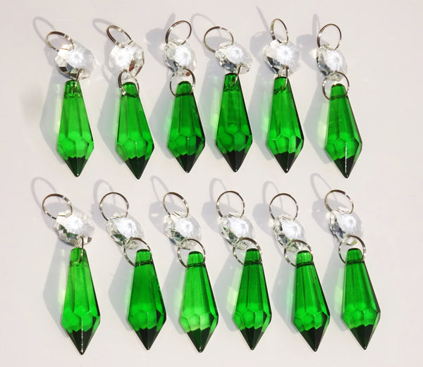 "12 Emerald Green Torpedo 37 mm 1.5"" Chandelier Crystals Drops Beads Droplets Christmas Wedding Decorations 12"