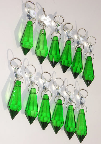 "12 Emerald Green Torpedo 37 mm 1.5"" Chandelier Crystals Drops Beads Droplets Christmas Wedding Decorations 3"