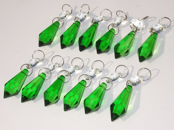 "12 Emerald Green Torpedo 37 mm 1.5"" Chandelier Crystals Drops Beads Droplets Christmas Wedding Decorations 6"