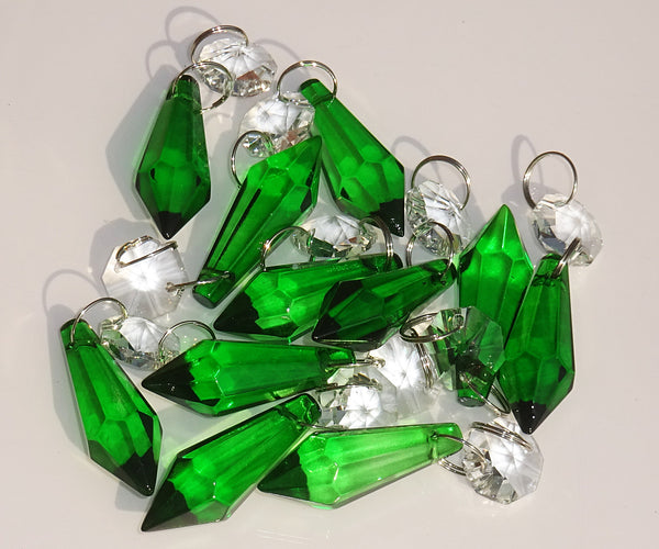 "12 Emerald Green Torpedo 37 mm 1.5"" Chandelier Crystals Drops Beads Droplets Christmas Wedding Decorations 9"