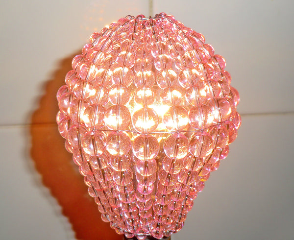 Chandelier Bead Light bulb GLS Pink Glass Cover Sleeve Lampshade Alternative 5