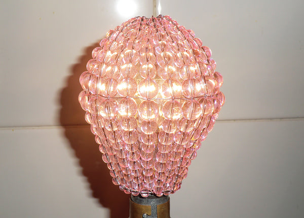 Chandelier Bead Light bulb GLS Pink Glass Cover Sleeve Lampshade Alternative 9