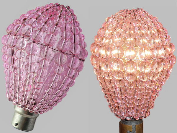 Chandelier Bead Light bulb GLS Pink Glass Cover Sleeve Lampshade Alternative 1