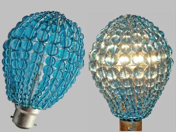 Chandelier Bead Light Bulb GLS Teal Blue Glass Cover Sleeve Lampshade Alternative Beaded