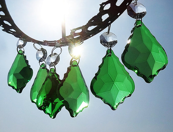 "Emerald Green Cut Glass Leaf 50 mm 2"" Chandelier Crystals Drops Beads Droplets 4"