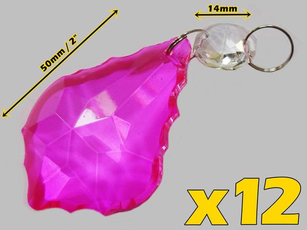 24 Hot Pink Chandelier Crystals Droplets Beads Prisms Cut Glass Drops Light Lamp Parts Spares 8