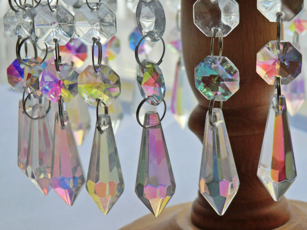 "Aurora Borealis 37 mm 1.5"" Torpedo Chandelier Glass Crystals Drops Beads AB Droplets Light Parts 3"