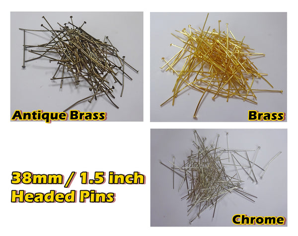 100 x 38mm 1.5 inch Headed Pins in Antique Brass for Chandelier Links for Glass Droplets Crystals Beads Drops 5