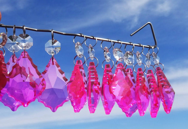 24 Hot Pink Chandelier Crystals Droplets Beads Prisms Cut Glass Drops Light Lamp Parts Spares 10