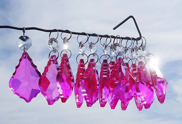 "Hot Pink Cut Glass Leaf 50 mm 2"" Chandelier Crystals Drops Beads Droplets Light Lamp Part 6"