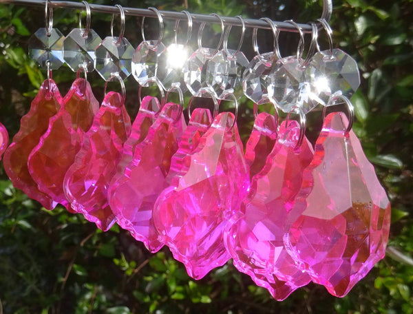 "Hot Pink Cut Glass Leaf 50 mm 2"" Chandelier Crystals Drops Beads Droplets Light Lamp Part 5"