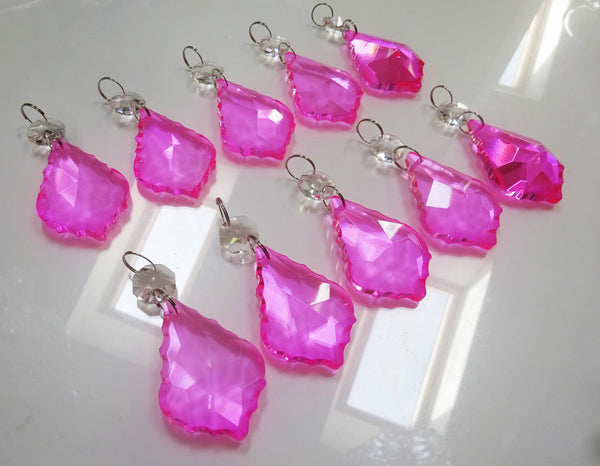 "Hot Pink Cut Glass Leaf 50 mm 2"" Chandelier Crystals Drops Beads Droplets Light Lamp Part 9"