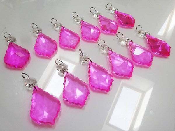 24 Hot Pink Chandelier Crystals Droplets Beads Prisms Cut Glass Drops Light Lamp Parts Spares 9