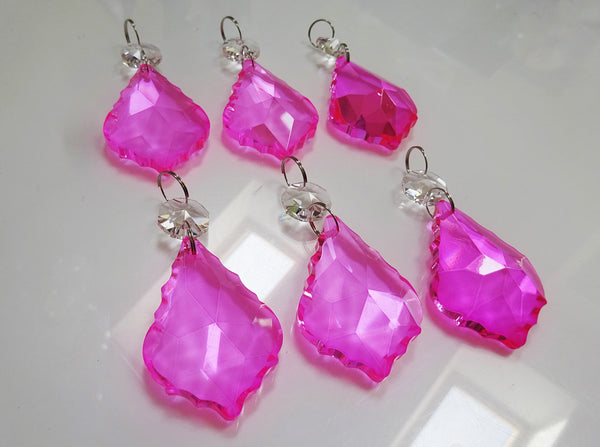 "Hot Pink Cut Glass Leaf 50 mm 2"" Chandelier Crystals Drops Beads Droplets Light Lamp Part 7"