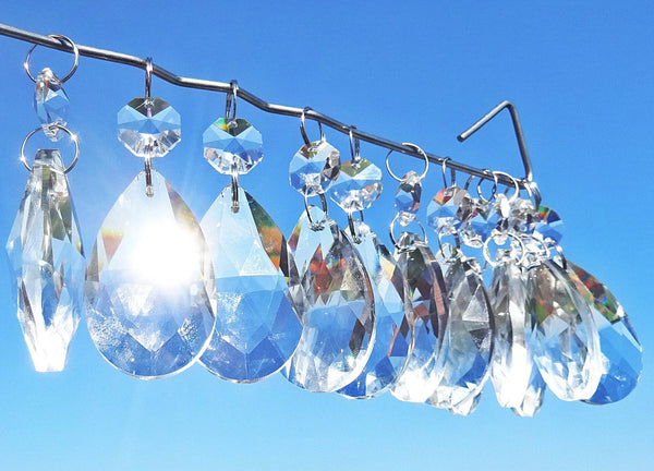 Clear Cut Glass Oval 2 inch Chandelier Crystals Drops Almond Droplets Prisms Transparent 14