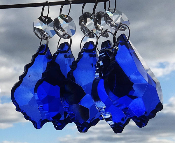 "Blue Cut Glass Leaf 50 mm 2"" Chandelier Crystals Drops Beads Droplets Light Lamp Parts 4"
