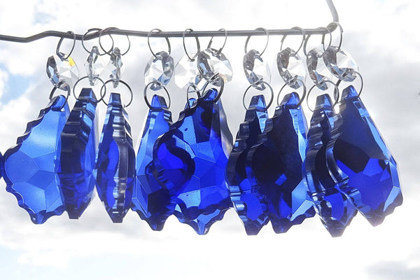 "Blue Cut Glass Leaf 50 mm 2"" Chandelier Crystals Drops Beads Droplets Light Lamp Parts 10"