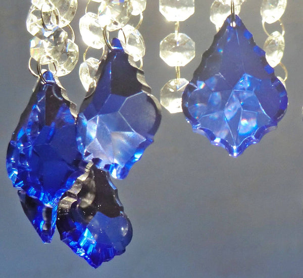 "Blue Cut Glass Leaf 50 mm 2"" Chandelier Crystals Drops Beads Droplets Light Lamp Parts"