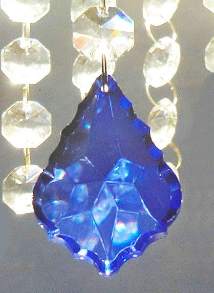 "Blue Cut Glass Leaf 50 mm 2"" Chandelier Crystals Drops Beads Droplets Light Lamp Parts 2"