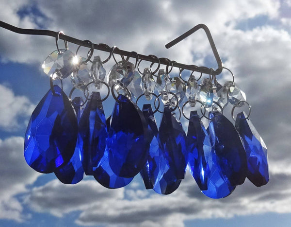 "Blue Cut Glass Oval 37 mm 1.5"" Chandelier Crystals Drops Beads Droplets Light Lamp Parts 3"